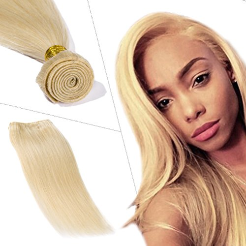 100% 7A Brazilian Remy Human Hair Weave Bleach Blonde Sew in Hair Extensions Double Weft Silky Straight One Bundle Hair Weft 100g Thick Soft Hair Extensions for Women 14 inch #613