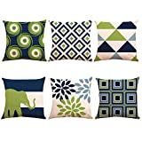 ZUEXT Decorative Throw Pillow Covers 18x18 Inch Double Side Design, Set of 6 Geometric Cotton Linen Indoor Outdoor Cushion Cover Pillowcase for Car Sofa Home Decor(Navy Pear Green New Living Series)