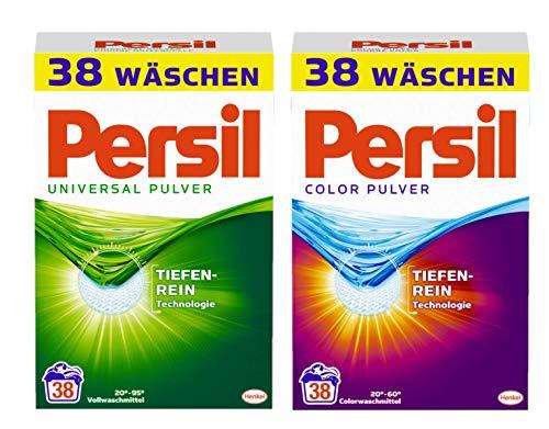 Persil Pulver Doppel-Pack Universal & Color Waschmittel für hygienisch strahlende Wäsche 76 (2x38) Waschladungen