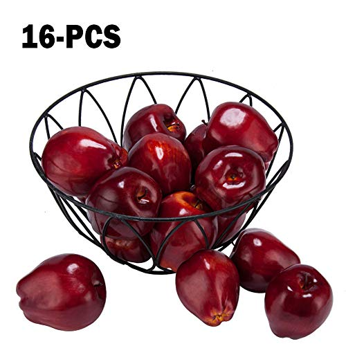 "Toopify 16PCS Artificial Red Apples, Fake Fruit Lifelike Simulation Apples for Home Kitchen Table Basket Decoration, 3.43"" x 2.95"""