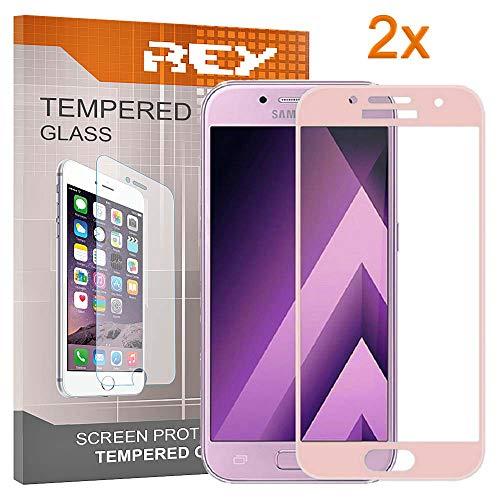 REY Pack 2X Panzerglas Schutzfolie für Samsung Galaxy A5 2017, rosa, Displayschutzfolie 9H+, Polycarbonat, Härte, Anti-Kratzen, Anti-Öl, Anti-Bläschen, 3D / 4D / 5D