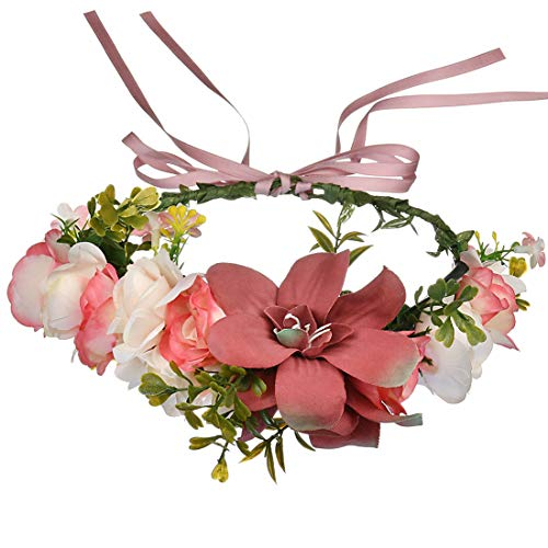 JMITHA Blumen Stirnband Blumenkranz Blumenkrone Hair Hoop Braut Stirnband Blumen Haarkranz Braut Brautjungfern Haarband für Damen Mädchen Festival Hochzeit
