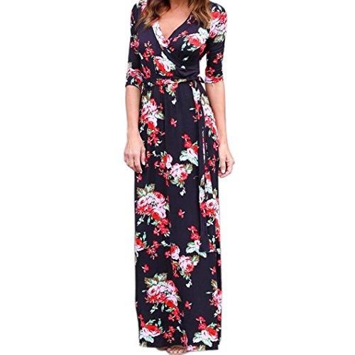 Bestop Damen Kleid Frauen V Hals Boho Lange Maxi 'Nabend Partei Beach Kleid Floral Sommerkleid (S, Schwarz)