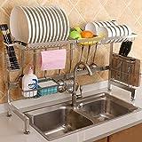 XGQ. 92 Centimetri Cucina dell'Acciaio Inossidabile Ciotola del Piatto Fruit Basket Coltello Tagliere Block Bacchette Scarico Rack Holder Bagagli, Versione Deluxe
