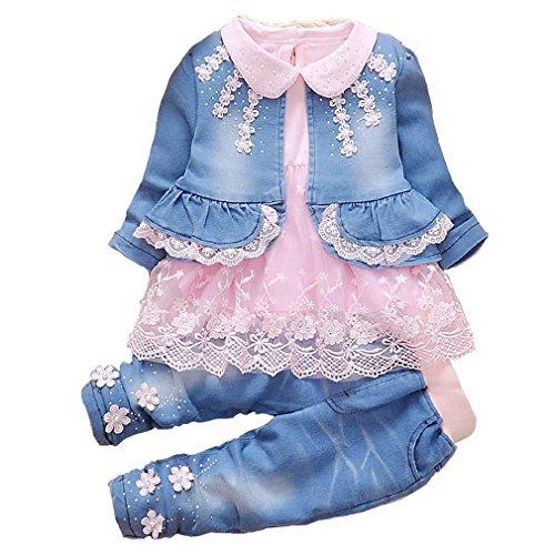 YYA 6M-4J Baby Mädchen Jeans 3-teiliger Anzug bestickter Spitzenrock Jeansjacke und Jeans(Rosa,2-3J)