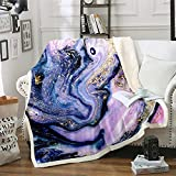 Marble Throw Blanket Purple Gold Marble Fleece Throw Blanket Modern Marble Plush Blankets Kids Women Adults Super Soft Sherpa Blanket Abstract Art Sheet Set Fuzzy Blanket for Bed Sofa Couch