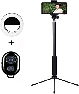 Selfie Stick Bluetooth, Keledz 63 Inch Extendable Wireless Remote Selfie Stick With Tripod Stand and Ring Light Compatible for iPhone X/iPhone 8/8 Plus/iPhone 7/7 Plus,Galaxy S9/S9 Plus/S8 etc (Black)