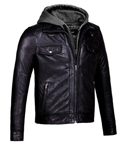 CORBANI Mens Leather Jacket with Hood Vintage Black Bomber – Genuine Leather (Large, Vintage Black)
