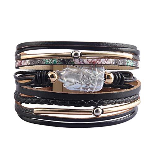 LIANCHI Pulsera trenzada para mujer – Pulsera de cuero – Piedra de perla de cristal – para mujer y niña regalo negro