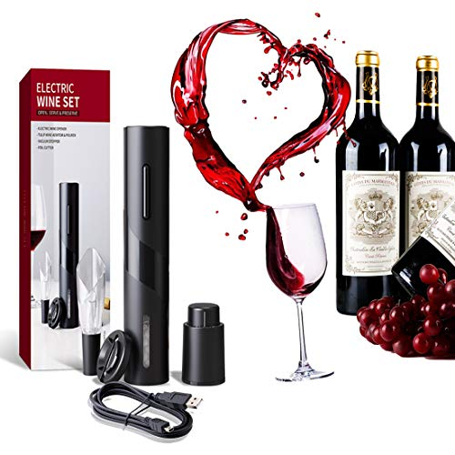 Abrebotellas de vino eléctrico, sacacorchos eléctrico automático con cortador de papel de aluminio y tapón al vacío, sacacorchos de fácil uso (recargable)