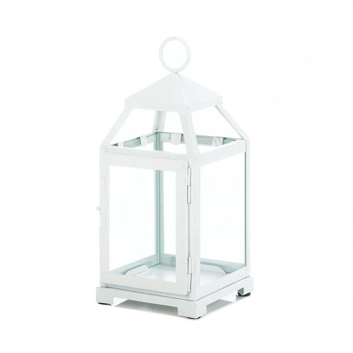 一流いじめっ子暫定のGallery of Light 10018115 White Contemporary Candle Lantern - 12 in.