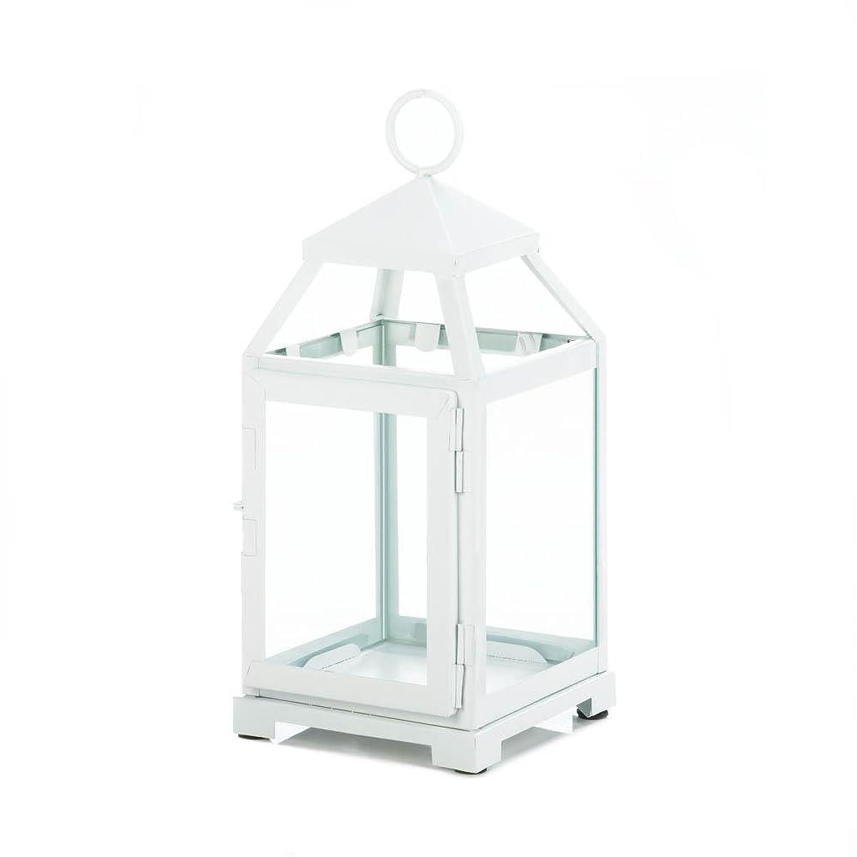 クリケット倉庫広々Gallery of Light 10018115 White Contemporary Candle Lantern - 12 in.