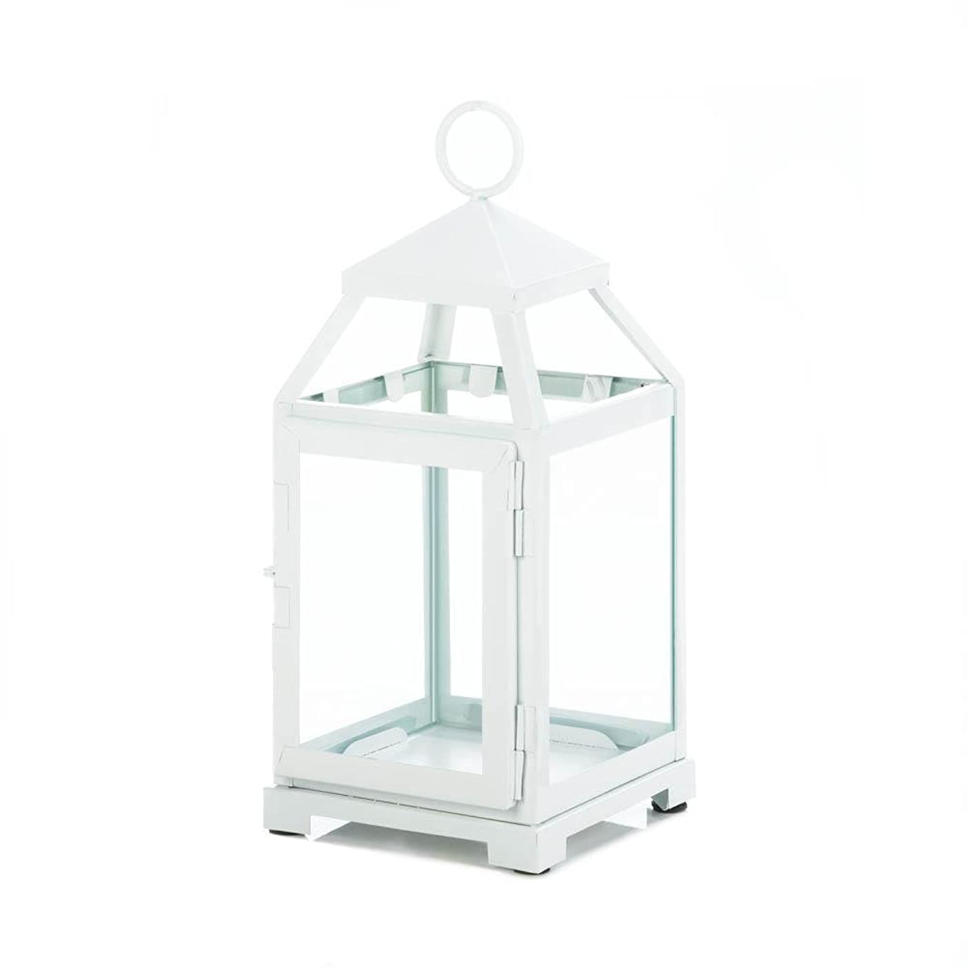 鳴り響くバーチャル意志に反するGallery of Light 10018115 White Contemporary Candle Lantern - 12 in.
