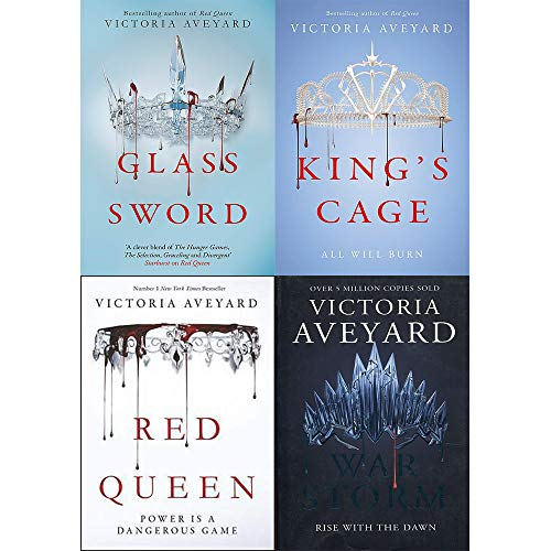 Victoria Aveyard Red Queen Series 4 Books Collection Set (Red Queen, Glass Sword, King'S Cage, War Storm)