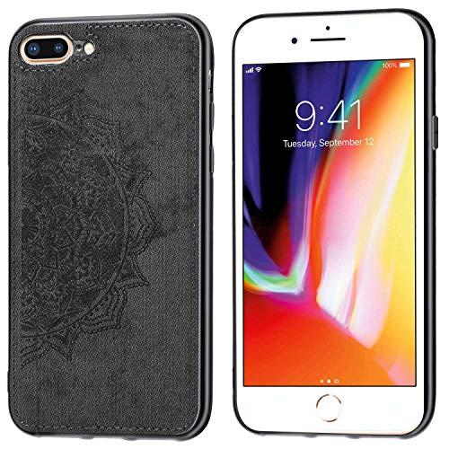 SULIAN Funda para iPhone 7 Plus, Ultra Delgada PU Cuero Flexible TPU Bumper Anti-Rasguño Antichoque protección Funda para iPhone 7 Plus - Negro