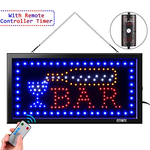 LED Open Sign,Business BAR Sign Advertisement Board Electric Display Sign,with Remote Control&Timing Function,2 Lighting Modes Flashing & Steady, for Bar,Business, Walls, Window, Shop, Hotel