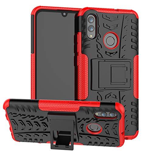 Yiakeng Funda Huawei P Smart 2019, Honor 10 Lite Carcasa, Doble Capa Silicona a Prueba de Choques Soltar Protector con Kickstand Case para P Smart 2019 (Rojo)