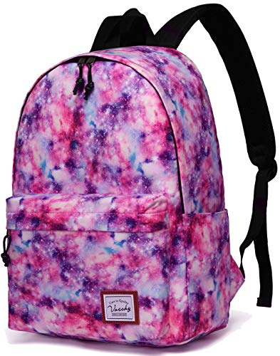School Backpack for Girls,VASCHY Water Resistant Durable Casual Schoolbag Bookbag for Middle School Students in Pink Galaxy