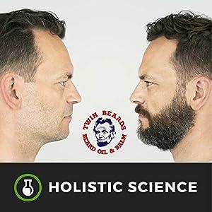 Twin Beards - Natural Beard Growth Oil 3 oz Softer Fuller Beard Fast   Nourishes Skin   Thickens Beard & Moustache   Castor Oil, Argan Oil & Tea Tree Oil
