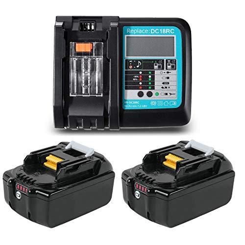 TPLS Batteria di ricambio agli ioni di litio BL1850B 18V 5Ah con caricatore 3A DC18RC per Makita 18V BL1830 BL1840 BL1850 BL1860 194205-3 194309-1 194204-5 196399-0 LXT400