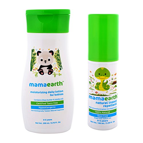 Pack of 2, Daily Mousturizing Lotion for Babies-200ml with Mamaearth Natural Mosquito Repellent for Babies-100ml Age Group (0-5 Yrs)