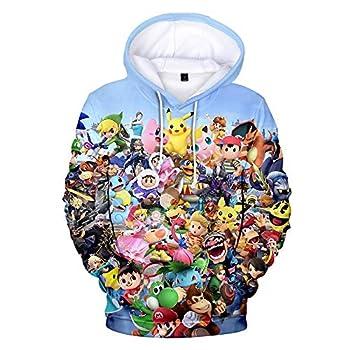 Cheerful D Super Smash Bros Ultimate Unisex Hoodie 3D Printed Hooded Pullover Sweatshirt for Men Women Boys Girls Small Black