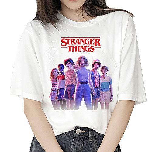 Stranger Things Shirt Damen, Teenager Mädchen Friends Dont Lie 3D Druck Sommer T-Shirts Frauen Upside Down Eleven Run Horror Kurzarm Tshirts Halloween Sport Blusen Shirt Oberteile Tops (B35715,S)
