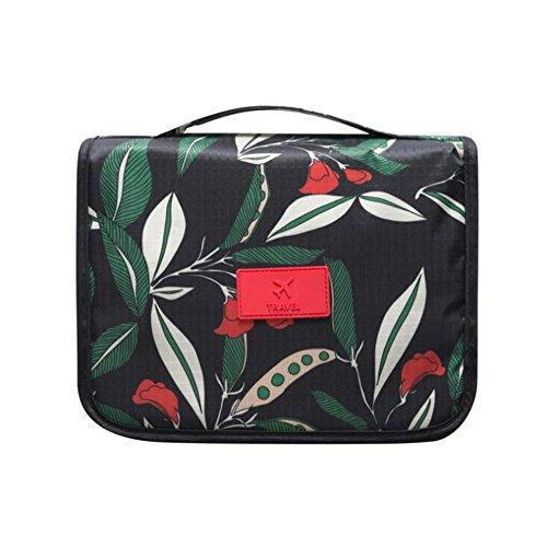 NOVAGO Trousse de Toilette Pliable, Trousse Maquillage Pliable et Compact résistant à l'eau (Fleur Vert)