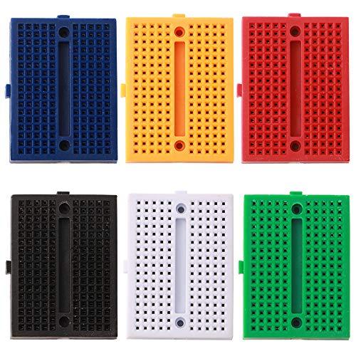 FULARR® 6Pcs Premium 170 Tie-Points Mini Breadboard Set, 6 Farben Lötfreie Prototyp Leiterplatte für Arduino【EINWEG】