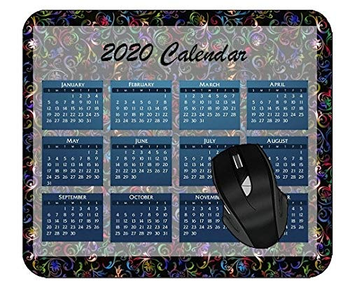 Mouse Pad 2020 Calendar Abstract Digital Art Material Colorful Year 2020 Calendar Mouse Pad