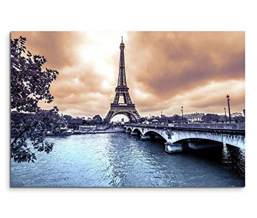 120x80cm Leinwandbild auf Keilrahmen Paris Eiffelturm Seine Brücke Winter Wolken Wandbild auf...