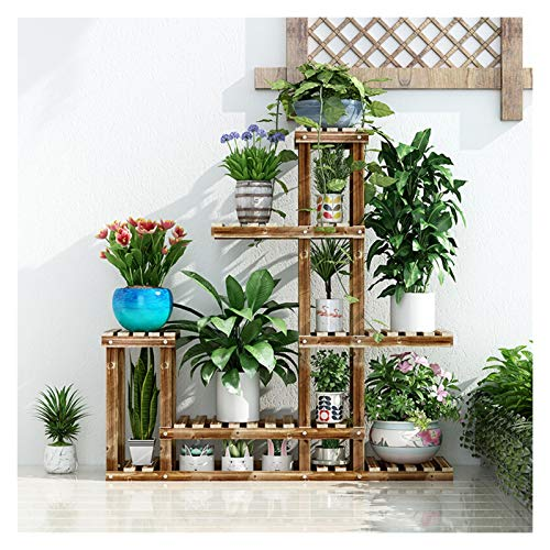 Wdejlgmhcor Flower Stand Balcony Solid Wood Multi-Layer Flower Stand Floor Indoor Bonsai Stand Flower Stand Charcoal Grill Flower Stand