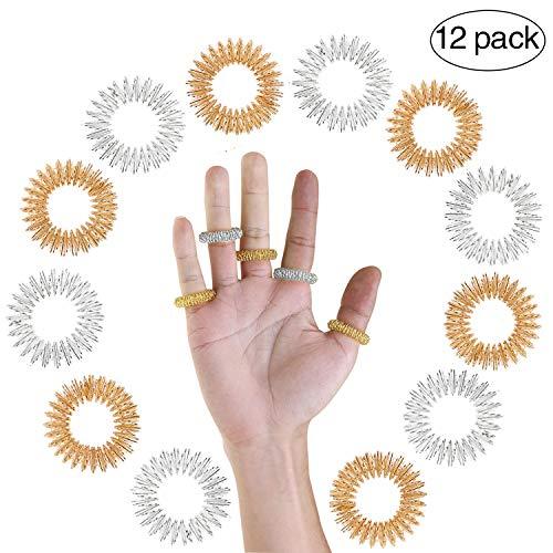 Spiky Sensory Finger Rings - Great Fidget/Sensory Toy for Kids and Adults - Spiky Finger Ring/Acupressure Ring Set (Pack of 12)