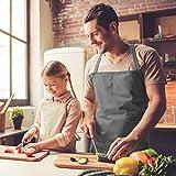 Viedouce 2 Pack Schürze,Wasserdicht Kochschürze mit Taschen,Verstellbarem Küchenschürze,Grillschürze,latzschürze,Küchenschürze (Grau) - 2