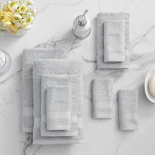 Welhome 100% Cotton Towel (Silver)- Set of 8 - Quick Dry -...