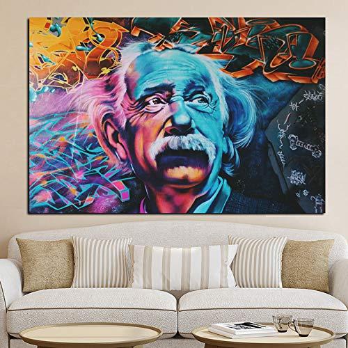 tzxdbh Hd Druck Abstrakte Albert Einstein Ölgemälde Bild Auf Leinwand Moderne Pop Art Poster Wohnzimmer Sofa Dekoration40X70
