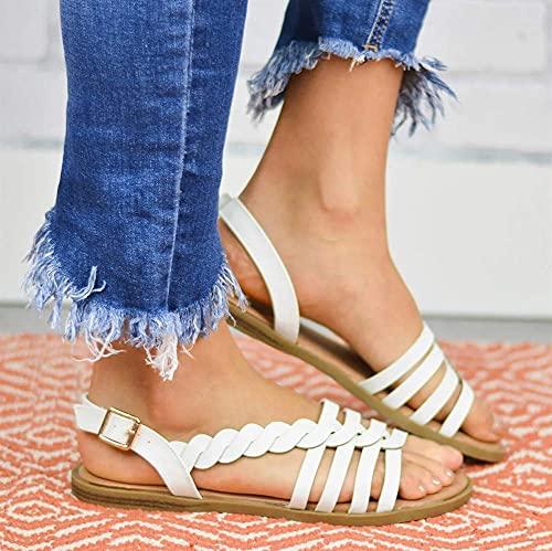 FFYN Sandalias para Mujer Sandalias Huecas con Punta Abierta de Verano Zapatos con Hebilla Sandalias de Cuero con Correa para el Tobillo Tejidas Zapatos cómodos Antideslizantes para CAM