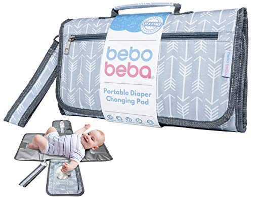 Baby Portable Changing Pad | Waterproof | Foldable Pad with Stroller Strap & Pocket for Diapers & Wipes | Changing Organizer Bag for Toddlers Infants & Newborns | Perfect Baby Shower Gift