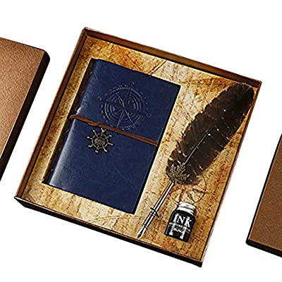Leather Journal Notebook and Feather Pen Set