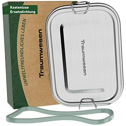 Traumwesen® Premium Edelstahl Brotdose Kinder mit Trennwand und Ersatz Austauschdichtung, Auslaufsicher, Plastikfrei Metall Brotdose 800ml