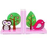 Tinkie Toys Handgefertigte Hölzerne Rosa Eule und Vogel Buchstützen für