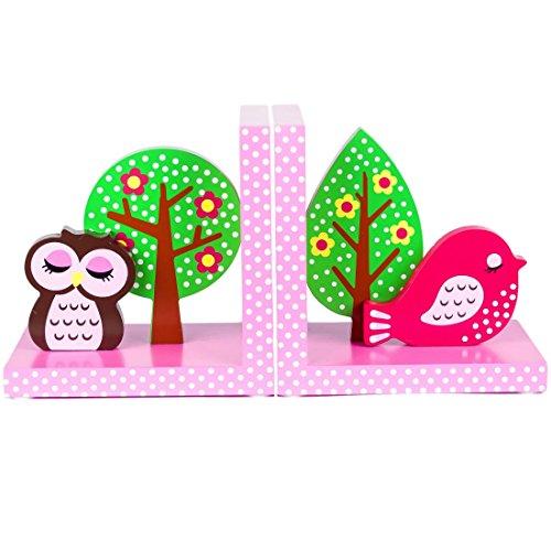 Tinkie Toys Handgefertigte Hölzerne Rosa Eule und Vogel Buchstützen für Kinder, Madchen, Bücherregal, Spielzimmer oder Kinderzimmer.