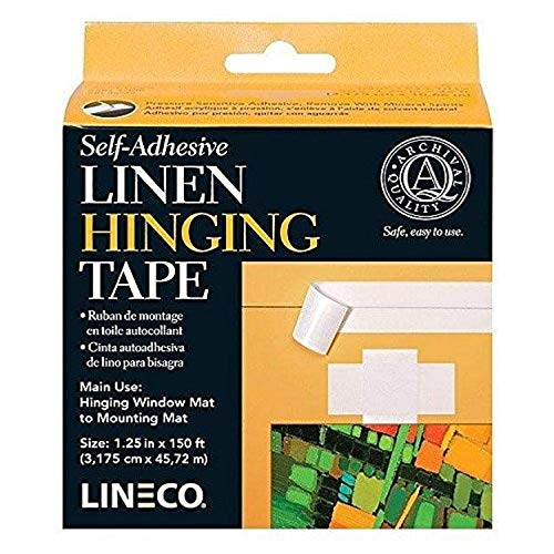 Lineco Self-Adhesive Linen Hinging Tape. Acid-Free, Neutral pH Fabric. 1.25 inches X 150 Feet. Trusted Tape for Hinging, Matboards, Mounting, Conservation, Framing, Craft, DIY. White.
