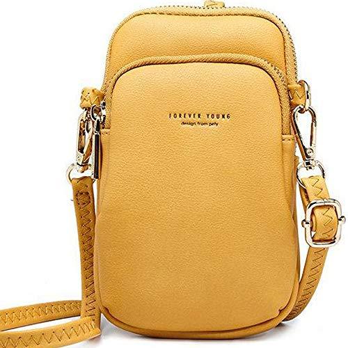 WANYIG Crossbody Tasche Damen PU Leder Umhängetasche Frauen Brieftasche Geldbörse Handy Mini-Tasche Kartenhalter Schulter Brieftasche Tasche (Gelb)
