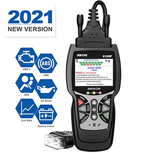 INNOVA 6100 Plus ABS SRS OBD2 Scanner Code Reader with Battery Alternator Test Service, Car Diagnostic Scan Tool with Oil Light Reset/Check Engine Light/Lighted Connector