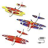 Herefun Aeromodello Aliante per Bambini, 3 Pezzi Aerei Alianti Volanti, Manuale Alianti Bambini Aereo Outdoor Aliante, Regalo di Compleanno per Bambini, Ricarica USB