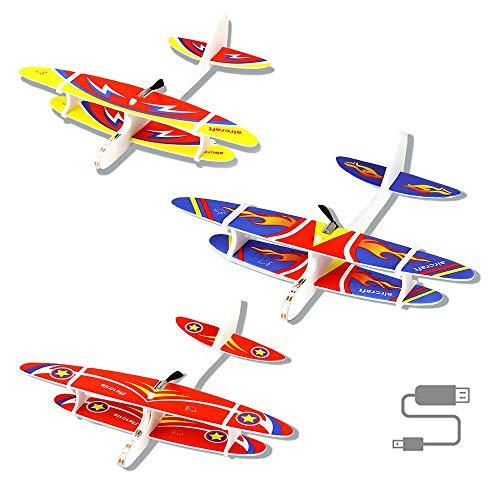 Herefun 3 Stücke Segelflugzeug, Flugzeug Spielzeug, Gleitflugzeuge Modell Schaum Styropor Flugzeug, USB Aufladbar Outdoor-Sportarten Spielzeug (A)