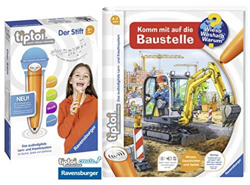 tiptoi Ravensburger Buch Wieso? Weshalb? Warum? 4-7 | Komm mit auf die Baustelle + Ravensburger 008018 Stift - neu mit Aufnahmefunktion