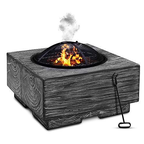 LIVIVO Wood Effect Fire Pit Brazier with Mesh Spark Guard, BBQ Grill Insert and Metal Fire Poker/Iron (Grey)
