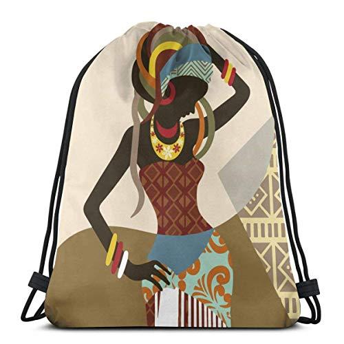 asdew987 Bolsa de gimnasio con cordón, diseño de mujer africana con cordón, 36 x 43 cm